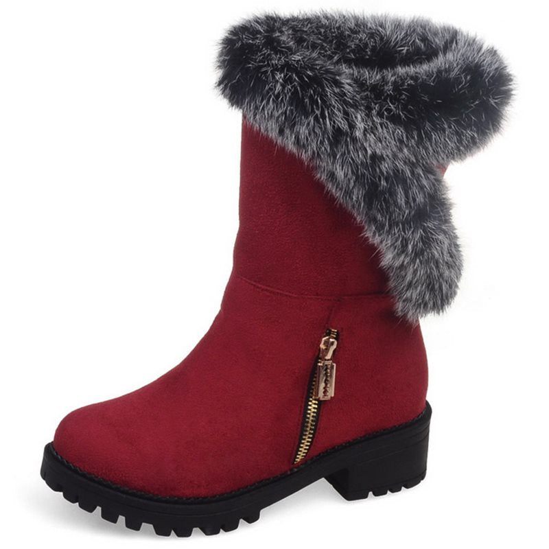 Round Toe Zip Decoration Women's Boots