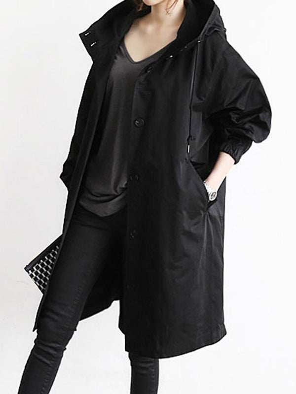 Oversized Hooded Flap Pocket Plain Longline Trench Coat