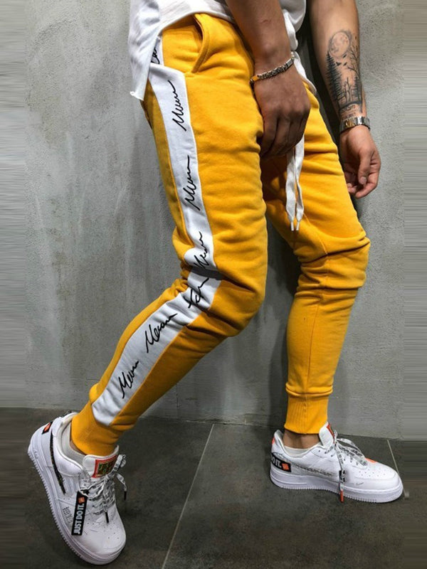 Letter Side Cotton Hip Hop Hombres pantalones casuales