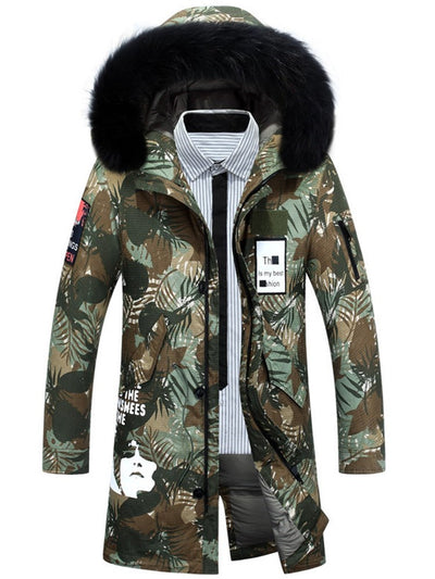 Winter Hooded Long Print Men's Down Jacket