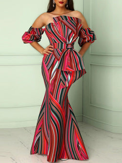 Color Block Slash Neck Bodycon Maxi Dress
