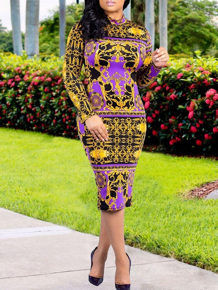 Knee Length Stand Collar Print Party Dress
