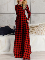Fashionable Plaid Long Sleeve Maxi Dress