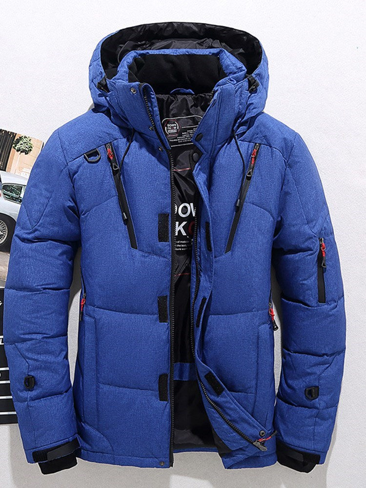 Hooded Thick Winter Men's Down Jacket Stand Collar Coats