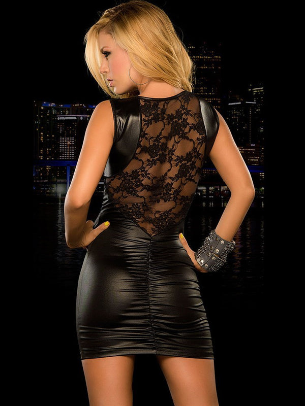 Lace Back Patchwork Sexy Women Nightclub Dress