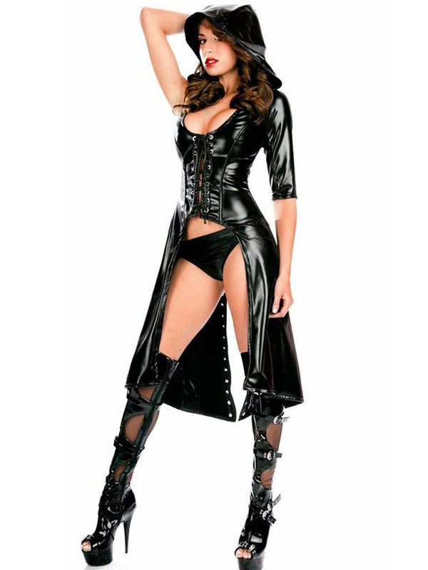 Black Patent Leather Hooded Sexy Dress