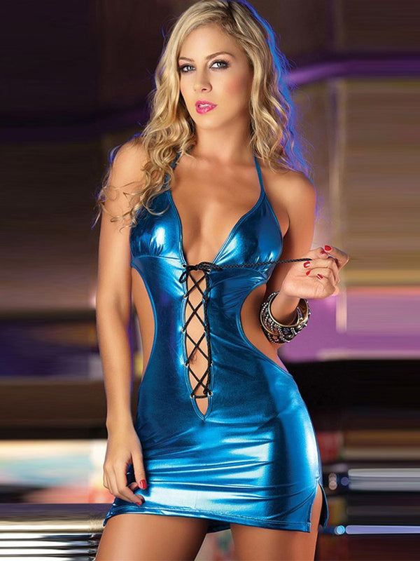 Backless Short Patent Leather Nightclub Dress