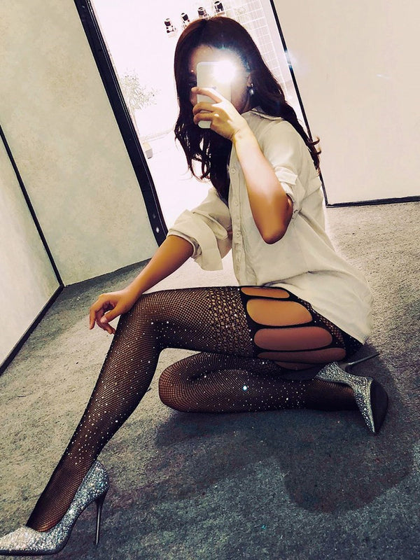 Black Lace Sequins Hollow Women Stockings