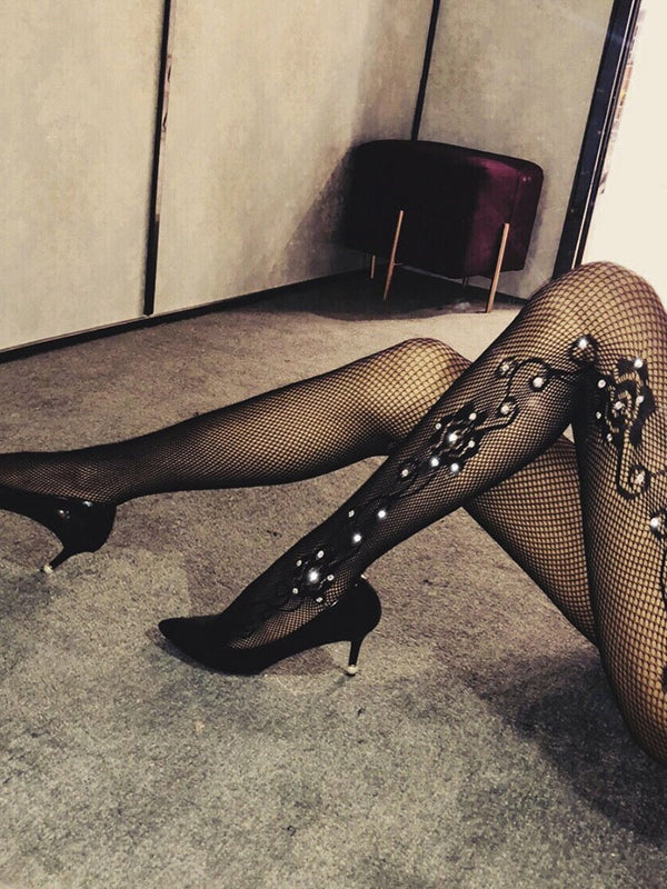 Flower Sequins Hollow Black Lace Stockings