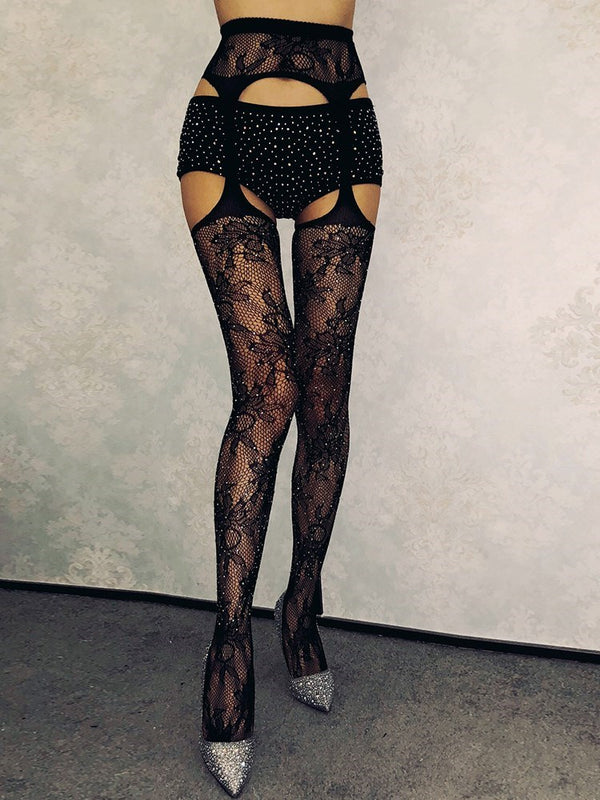 Sexy Hollow Floral Lace Women Stockings