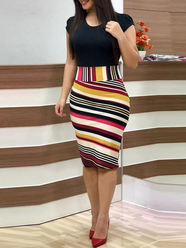Knee-Length Straps Patchwork Summer Bodycon Dress