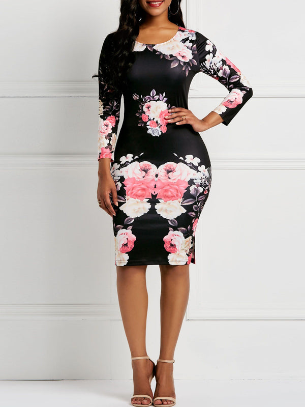 Long Sleeve Pullover Print Bodycon Floral Dresses
