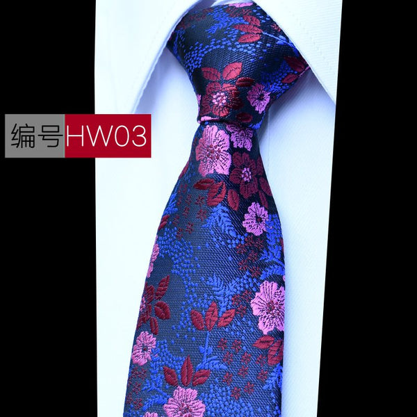 Fashion Mens Floral Mens Silk Tie Set Jacquard Purple Paisley Necktie Hanky Cufflinks for Wedding Business