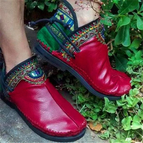 Vintage Print Round Toe Women's Flat Boots