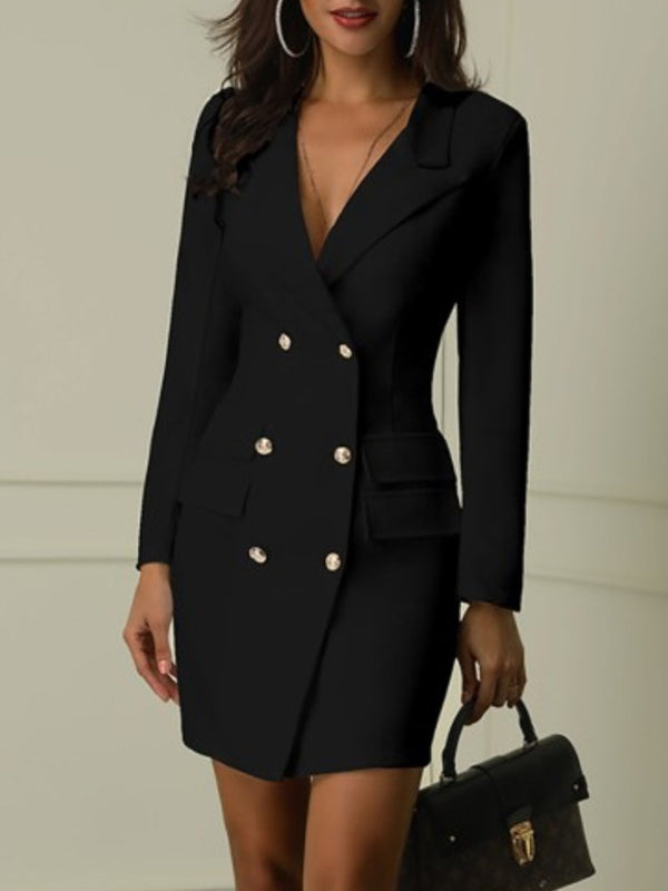 Double-Breasted V Neck Solid Color Blazer Dress