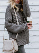 Wrapped Thick Turtleneck Long Sleeve Sweater