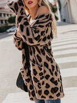 Leopard Print Casual Loose Mid-Length Cardigan Sweater