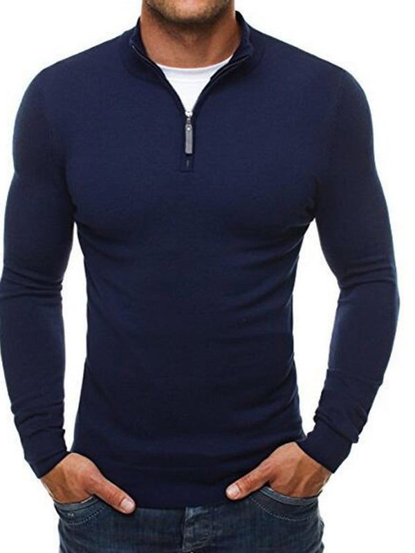Standard Plain Stand Collar Loose Casual Sweater