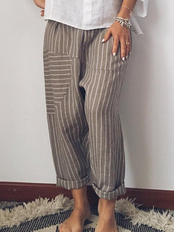 Stripe Loose Straight Ankle Length Casual Pants