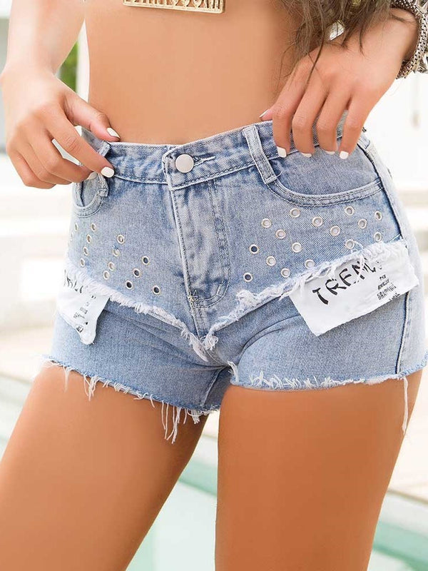 Button Skinny Zipper Shorts