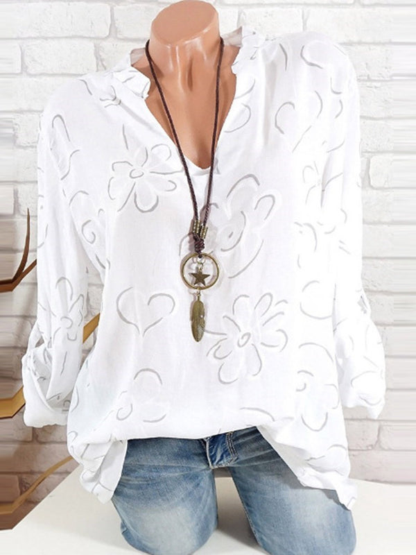 Print V-Neck Regular Mid-Length Long Sleeve Blouse