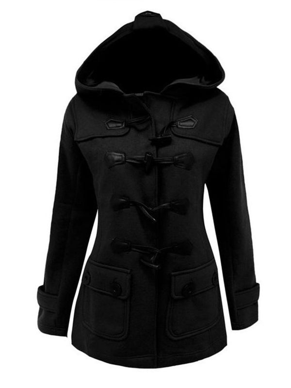 Button Slim Regular Mid-Length Hooded Overcoat