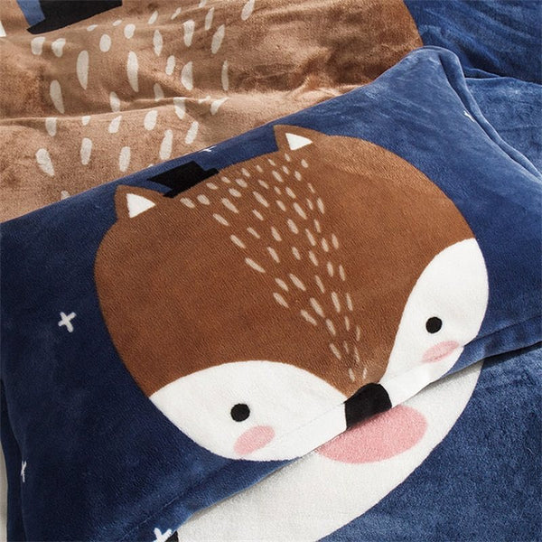 Blue Fox Reversible Flannel Warm Kids 4-Piece Juegos de cama mullidos / Funda nórdica