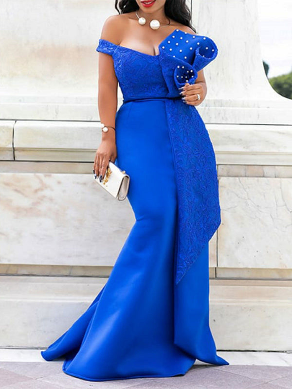 Off Shoulder Bead Bodycon Maxi Dress