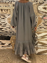 Ankle-Length V-Neck Lace Fall Pullover Dresses