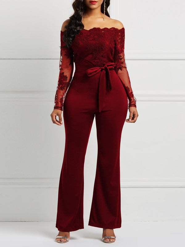 Lace Full Length England Wide Legs Slim Jumpsuits