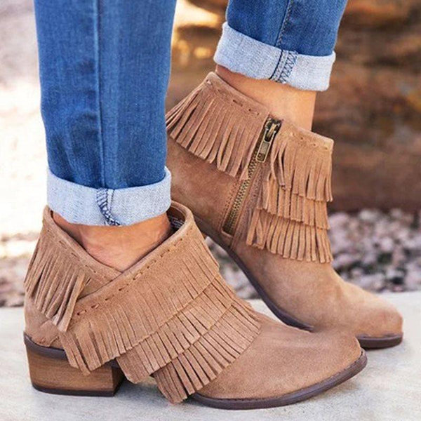 Plain Side Zipper Round Toe Western Casual Boots