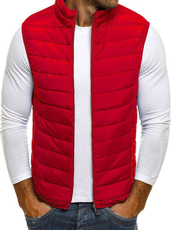 Zipper Thick Plain Zipper Casual Waistcoat