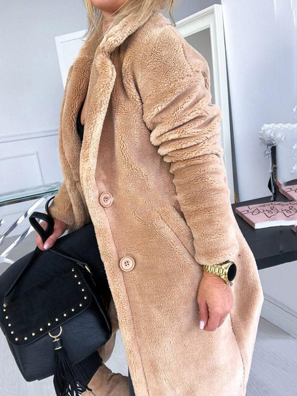 Regular Single-Breasted Loose Notched Lapel Long Overcoat
