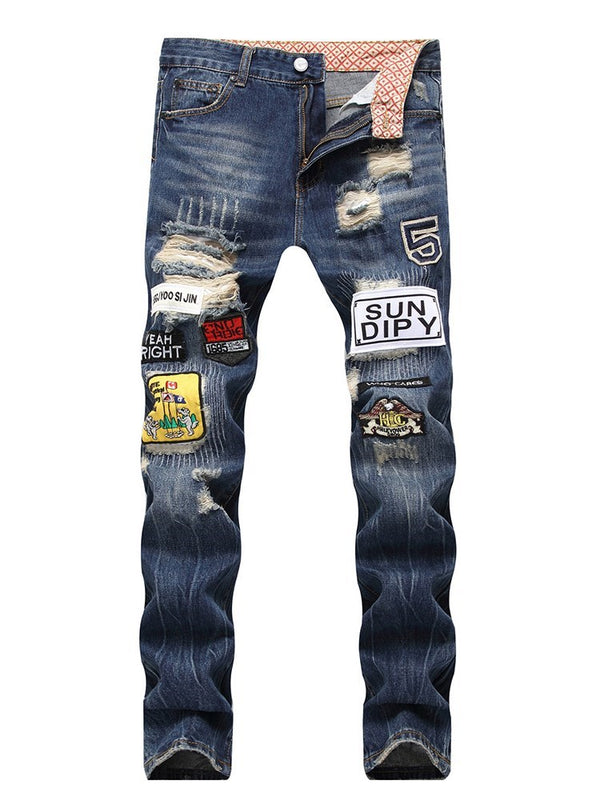 Hole Straight Zipper European Jeans