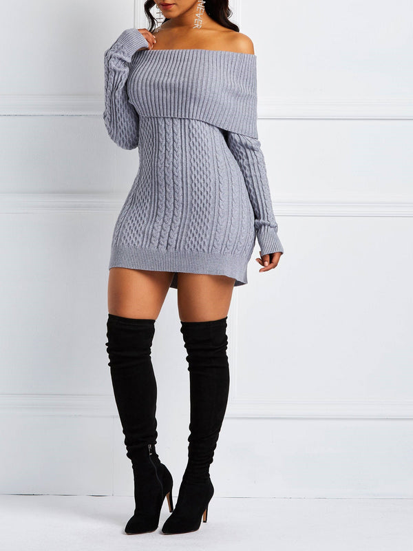 Off-The-Shoulder Knitted Long Sleeve Sweater Dress