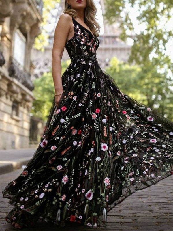 Sleeveless Backless Floor-Length Expansion Sexy Dress