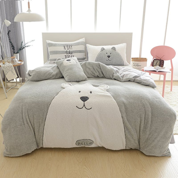 Full Size Cartoon Bear Pattern Grigio Morbido 4-Piece Fluffy Bedding Set / Copripiumino