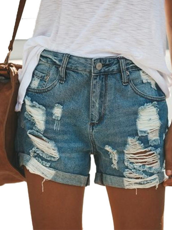 Plain Hole Low Waist Straight Shorts