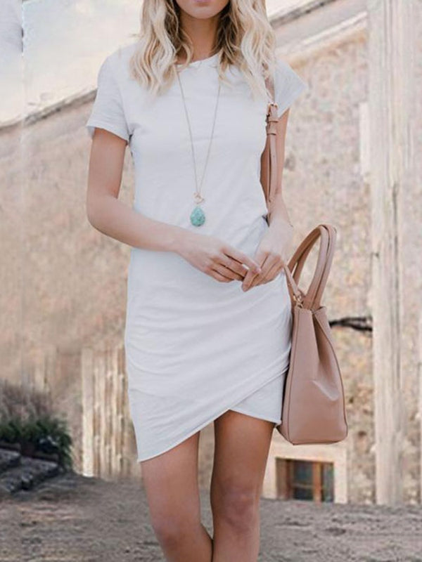 Above Knee Short Sleeve Asymmetric Pullover Casual Dress