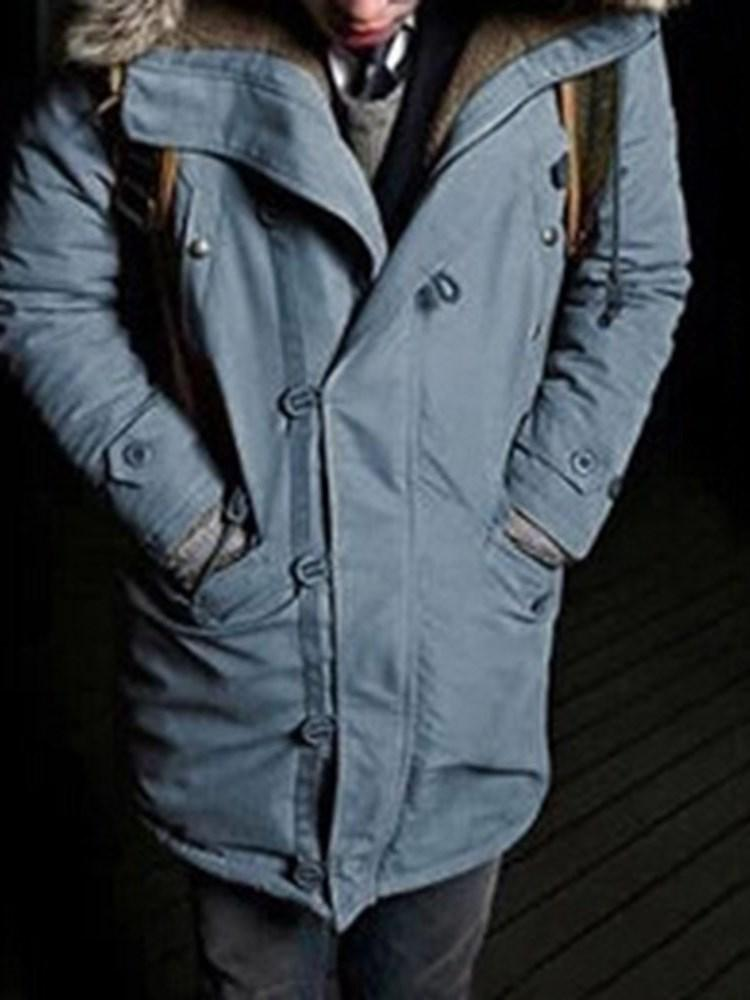 Hooded Mid-Length Pocket Casual Down Jacket
