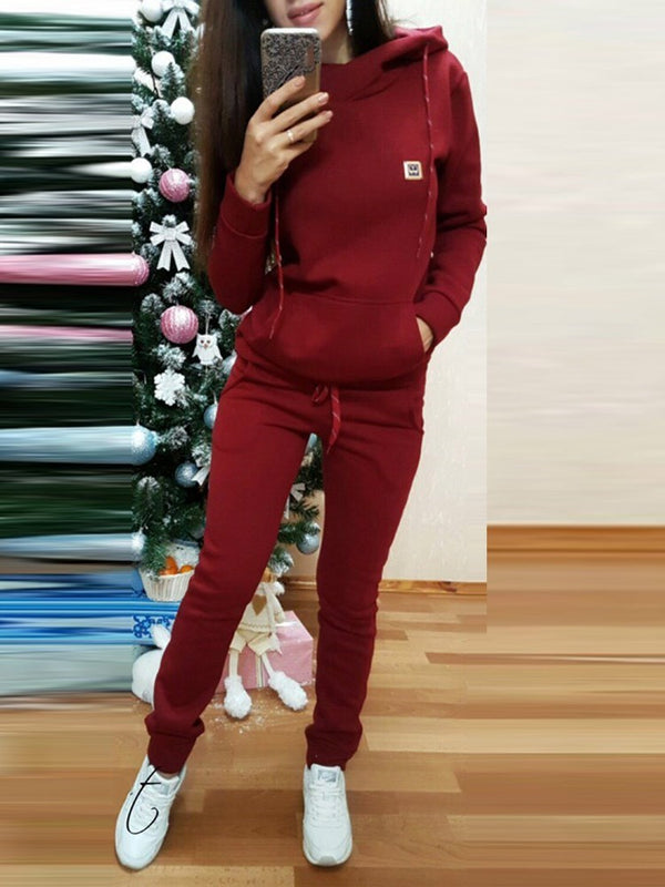 Hoodie Plain Casual Pullover Hooded Two Piece Sets