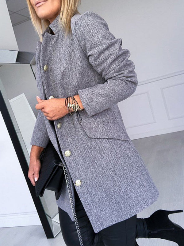 Loose Regular Button Mid-Length Overcoat