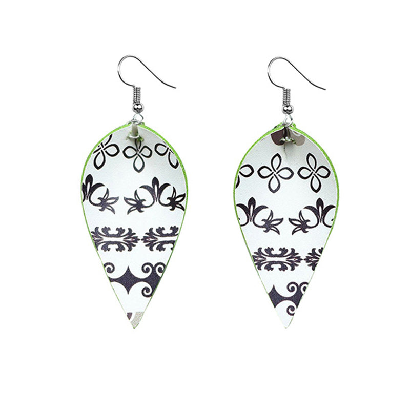 Adult Floral Leather Drop Earrings