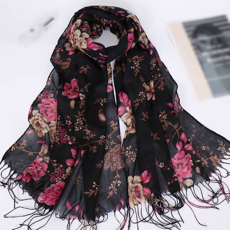 Ladylike Cotton Scarf Floral Scarves