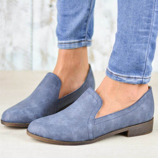 Runde Zehe Slip-On Blockabsatz Western Plain Thin Schuhe