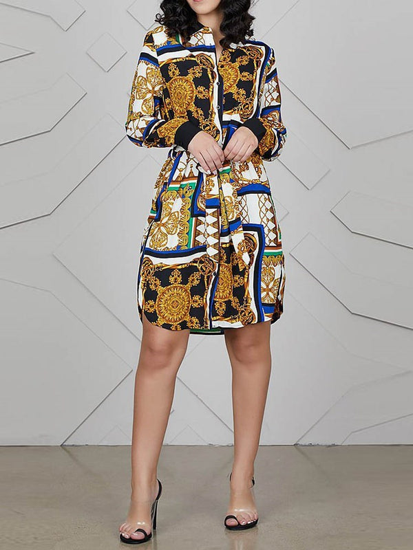 Print Long Sleeve Knee-Length Pullover Color Block Dress