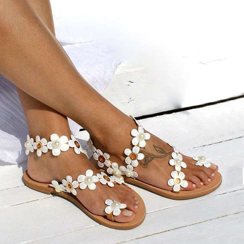 Slip-On piatto perizoma con sandali occidentali da spiaggia