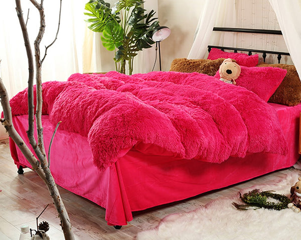 Biancheria da letto / copripiumino Fluffy Full Size Bright Rose Plush 4-Piece