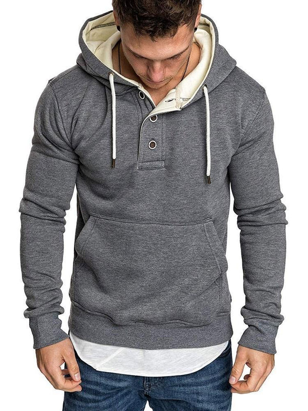 Button Plain Fleece Hooded Pullover Hoodies
