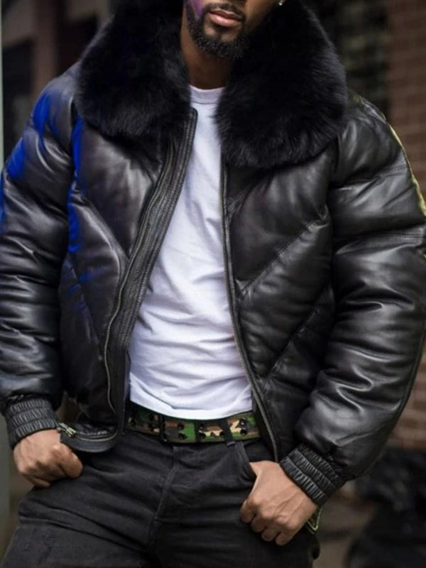 Lapel Standard Patchwork Zipper Casual Down Jacket